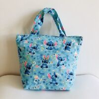 Lilo&stitch blue canvas handbag zip lunch box bag storage tote recycle bags