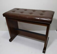 Organ or Piano Stage Bench with Brown Tufted Vinyl Storage Seat