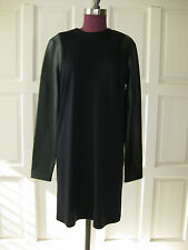 BALENCIAGA navy jersey dress w/black leather sleeves FR 42 =US 10 UK 14 NWT$1.7K
