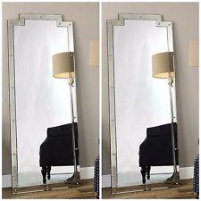 "Pair Xxl 76"" Smoked Beveled Mirror Frame Gold Nail Heads Wall Dressing Mirror"