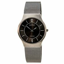 Skagen 233LTTM Men's Slim Grey Dial Titanium Mesh Bracelet Analog Quartz Watch