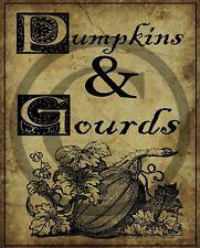 Primitive Fall Autumn Pumpkins & Gourds Laser Print 8x10