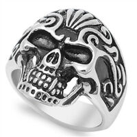 Anarchy Biker Skull Evil Chopper Ring New 316L Stainless Steel Band Sizes 8-15