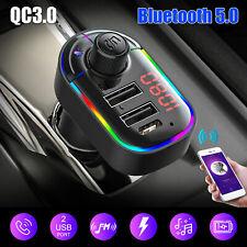 Bluetooth 5.0 Car Wireless Adapter Kit FM Transmitter MP3 Radio Dual USB Charger
