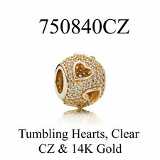 "Authentic Pandora solid 14K gold ""Tumbling Hearts"" charm 750840CZ SOLD OUT!"