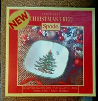 "Spode Christmas Tree Sculpted Square Dish 5.5"" X 5.5"" New Open Boxae"
