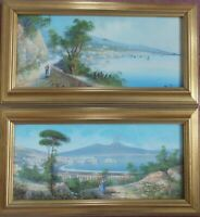 Maria Gianni Italian (act. ca. 1890-1905) Bay of Naples Vesuvius Paintings