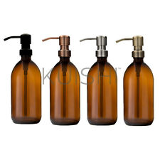 Kuishi Amber Brown Glass Soap Dispenser With Stainless Steel Pump (BPA-Free)