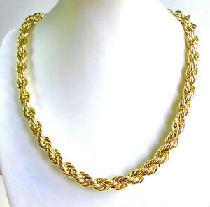 "Men 14K Yellow Gold Plated Twist Braid 47cm 18.5"" Heavy 79G Chunky Chain UK"