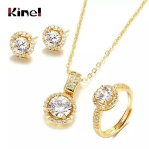 18K GOLD FILLED NECKLACE EARRINGS RING SET MADE WITH SWAROVSKI CRYSTAL J8