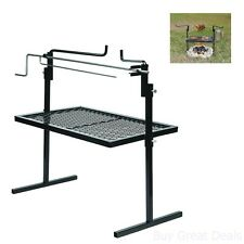 Stainless Cooking Grate Rotisserie BBQ Stand Open Fire Pit Spit Grill Steel