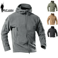 Windproof Tactical Mens Jacket Military Army Combat Fleece Jackets Coats Hooded