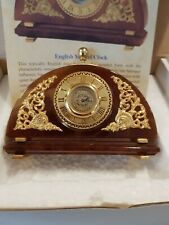 More details for english miniature mantel clock in alabaster vgc 24 carat gold plated h7.5xw10cm