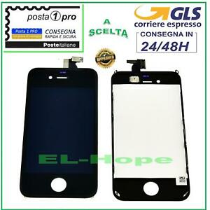 TOUCH SCREEN LCD DISPLAY RETINA PER APPLE IPHONE 4S SCHERMO NERO + FRAME