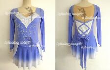 High Elasticity Competition Skating Wear Handmade Jeweled dress blue dyeing