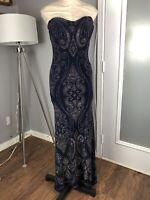 Jump Apparel Gown 1/2 Sapphire Blue Gold Glitter Strapless Formal Dress