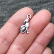 6 Wolf Charms Antique Silver Tone 2 Sided - SC1051