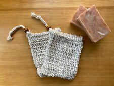 Natural Sisal Soap Bag with Wood Bead