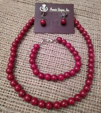 """Premier Designs Jewelry """"TANGO"""" RED-Beaded NECKLACE, Bracelet, and Earrings Set"""