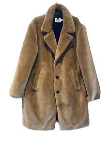 Topman Camel Faux Fur Coat | Size Large | New