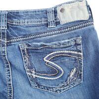 Silver Aiko Distressed Dark Wash Thick Stitch Boot Cut Jeans Womens 30 30x31