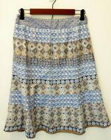 Sigrid Olsen Womens Sz 4 Skirt Blue Tan Print Lined Side Zip Cotton Flare Skirt