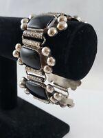 "Mexico 925 Silver & Black Onyx Deco-Mod Link Bracelet 80 Gram 7"" SILVER"