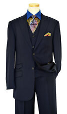 Luciano Navy Blue/Sky/Charcoal Gray Pinstripe Wool Wide Leg Wedding Suit 40R