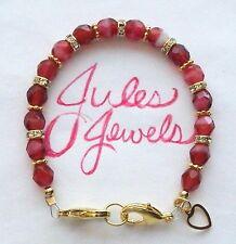 Czech Glass Beads Raspberry Medical Alert ID Bracelet. GOLD!