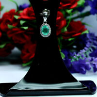 NATURAL 5 X 7 mm. OVAL GREEN EMERALD & WHITE CZ PENDANT 925 STERLING SILVER