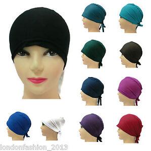 3 x Assorted Plain Under Scarf Hijab Tie Back Bonnet Chemo Hat Cap