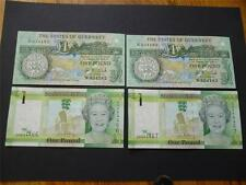 Guernsey and Jersey pairs of mint uncirculated £1 banknotes consecutive numbers.