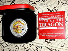 2012 Coloured 1 Ounce Dragon Issued at The ANDA Coin Fair Melb in Box of Issue
