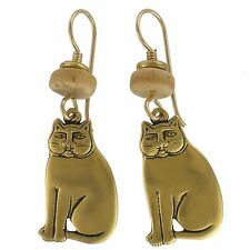 NEW! Laurel Burch MYSTIC CAT Antiqued Gold Lead Free Pewter Retired Earrings