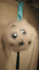 "LARGE-FLUFFY WHITE & BLUE GLASS-HOLIDAY/EASTER BALL ORNAMENT/HANGS 28"" L x12"" W"