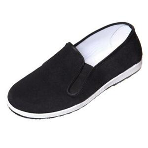 COMFORTABLE TRADITIONAL TAI-CHI / KUNG FU RUBBER SOLE SLIP ON SHOES - BLACK