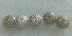 Pack of 5 Vintage silver blazer buttons anchor and rope design Diameter 15mm