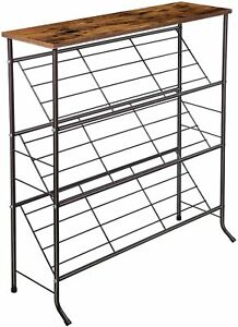 4-Tier Shoe Rack, Wood Top Shelf, Metal Sloped Shelves, Space-saving Shoe Shelf