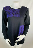 New Misook Women's XL Black Purple Long Sleeve Acrylic Top Blouse Stretchy