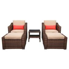 New Listing5 Pcs Outdoor Patio Sofa Set Pe Rattan Wicker Sectional Furniture Ottoman Table