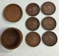 Set of 6 Vintage, Round, Carved Wood Coasters in Carved Wooden Box - Oriental