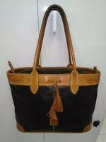 Dooney & Bourke Vintage Black/Brown Leather Large Tote Shoulder/ Handbag Purse