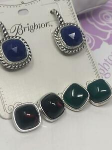 Brighton color Clique earrings w/ three colors  blue, red and green $148