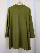 Vtg Roaman's 100% Cotton Khaki Olive Green Turtle Neck L/S A-Line Dress Sz M