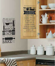 COOKING CONVERSIONS wall stickers 2 big decals kitchen room decor measurements