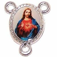 "Sacred Heart of Jesus resined silver-toned center (1.5 - 0.6"")"
