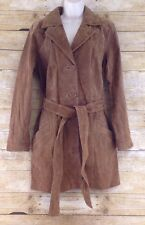 Dennis Basso Suede Leather Trench Coat Womens Medium Brown Rawhide Belted