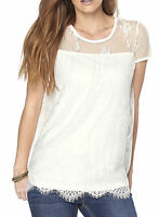 Women's UK PLUS Size 10 - 26 Tunic  Lace Top white