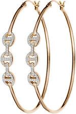 HOORSENBUHS DIAMOND TRI-LINK ROSE GOLD LARGE HOOPS EARRINGS