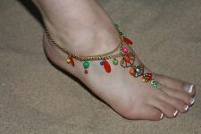Leaf Toe Anklet Foot Chain Colorful Barefoot Sandal Acrylic Gem Gold